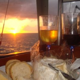 Caribbean Sailing Charters | Cheese & crackers for BVI sunset