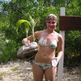 Caribbean Sailing Charters | Christine with a budding coconut